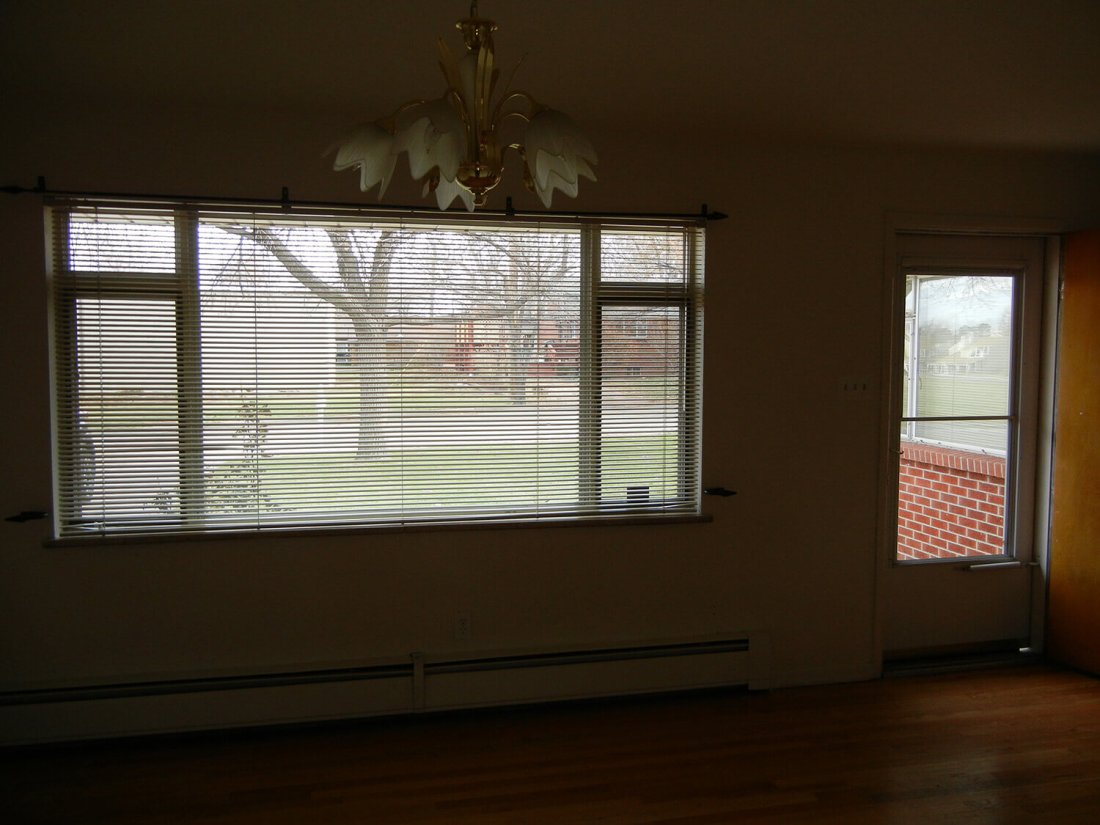Dining Room Remodel - Before: view of front window with blinds